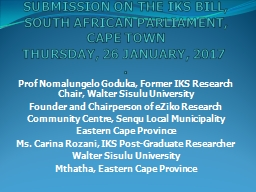 SUBMISSION ON THE IKS BILL,