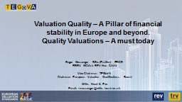 Valuation Quality – A Pillar of financial stability in Eu