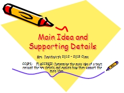 Main Idea and Supporting Details PowerPoint PPT Presentation