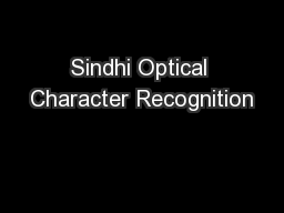 Sindhi Optical Character Recognition