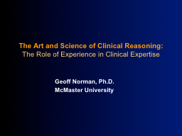 The Art and Science of Clinical Reasoning: