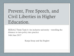 Prevent, Free Speech, and Civil Liberties in Higher Educati PowerPoint PPT Presentation