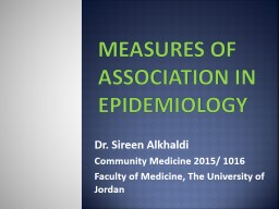 Measures of Association in Epidemiology