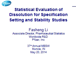 Statistical Evaluation of Dissolution for Specification Set