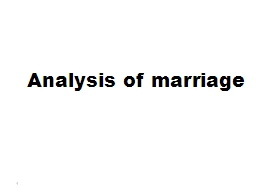 Analysis of marriage