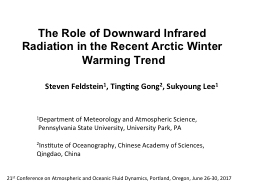 The Role of Downward Infrared Radiation in the Recent Arcti PowerPoint PPT Presentation
