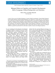 Bilingual Effects on Cognitive and Linguistic Developm