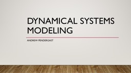 Dynamical Systems Modeling PowerPoint PPT Presentation
