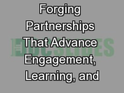 Forging Partnerships That Advance Engagement, Learning, and