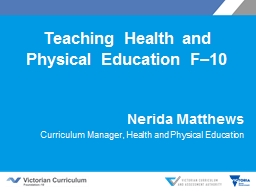 Teaching Health and Physical Education F–10