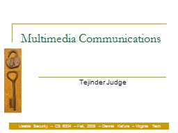 Multimedia Communications PowerPoint PPT Presentation