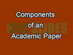 Components of an Academic Paper