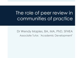 The role of peer review in communities of practice