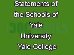 Mission Statements of the Schools of Yale University Yale College