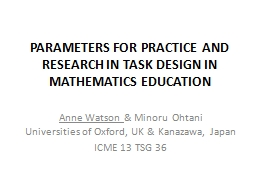parameters for practice and research in task design in math