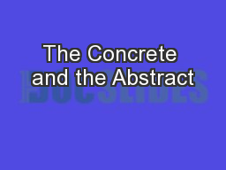 The Concrete and the Abstract PowerPoint PPT Presentation