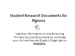 Student Research Documents for Pigeons