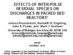 Effects of inter-pulse residual species on discharges in p