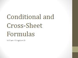 Conditional and Cross-Sheet Formulas