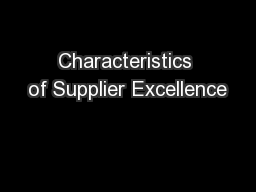 Characteristics of Supplier Excellence