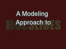 A Modeling Approach to