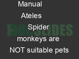 About this Manual         Ateles        Spider monkeys are NOT suitable pets
