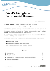 Pascals triangle and the binomial theorem mcTYpascal
