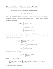 Mean and Variance of Binomial Random Variables The pro