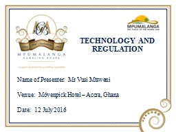 TECHNOLOGY AND REGULATION PowerPoint PPT Presentation