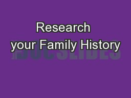 Research your Family History
