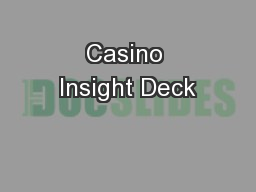 Casino Insight Deck