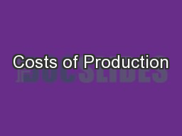 Costs of Production PowerPoint PPT Presentation
