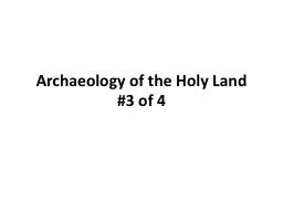 Archaeology of the Holy