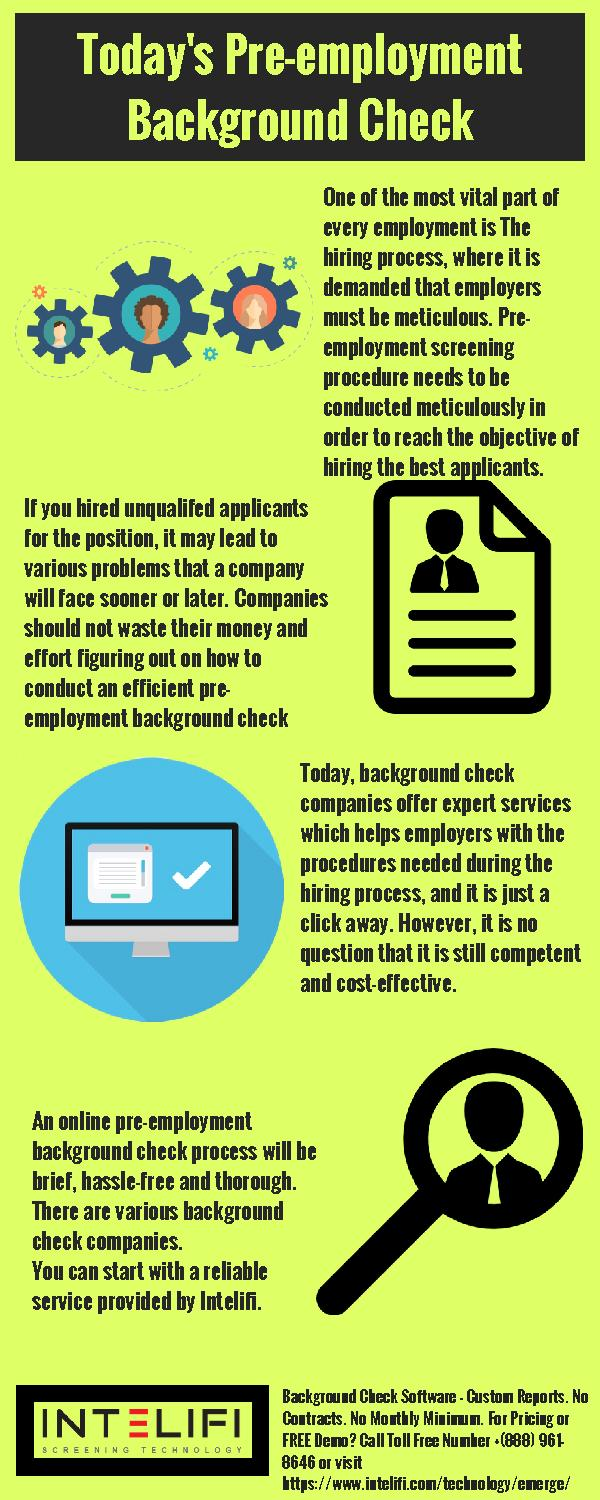 Today's Pre-employment Background Check
