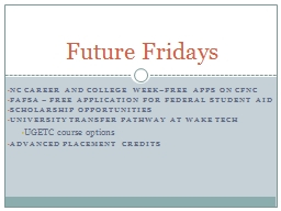 NC  Career and college Week–Free Apps on PowerPoint PPT Presentation