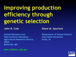 Improving production efficiency through genetic selection