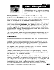 Lunar Biosphere Teacher Page  Exploring the Moon  A Te