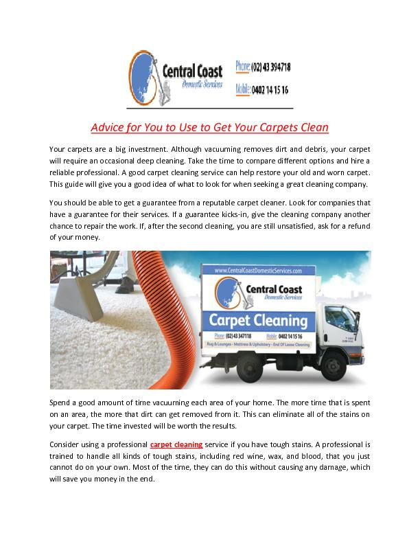 Advice for You to Use to Get Your Carpets Clean