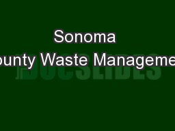 Sonoma County Waste Management
