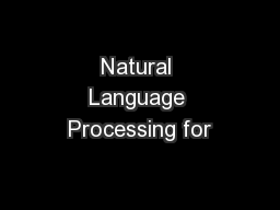 Natural Language Processing for