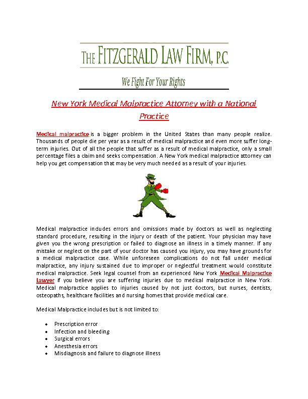 New York Medical Malpractice Attorney with a National Practice PowerPoint PPT Presentation