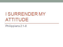 I Surrender My Attitude