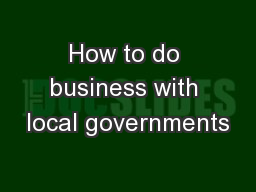 How to do business with local governments