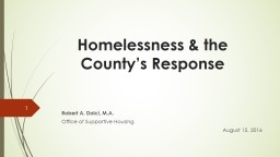 Crisis Response and Its Relation to Housing the Homeless