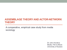 Assemblage Theory and Actor-Network PowerPoint PPT Presentation