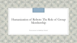 Humanization of Robots: The Role of Group Membership
