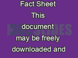 Fact Sheet This document may be freely downloaded and