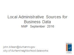 Local Administrative Sources for Business Data