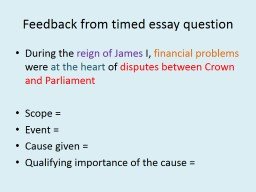Feedback from timed essay question
