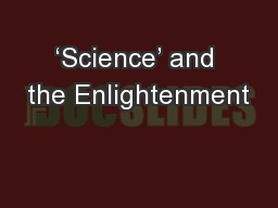 'Science' and the Enlightenment
